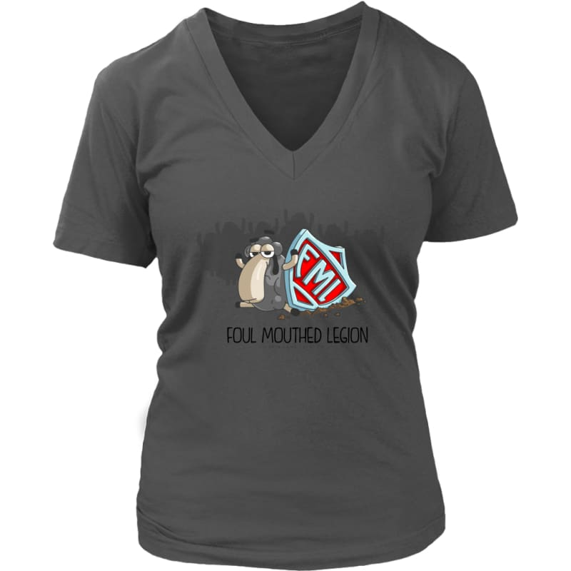 Womens V-Neck Foul Mouth Legion Full Size District Womens V-Neck / Charcoal / S T-Shirt