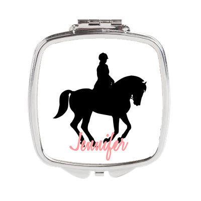 Equestrian Horse Personalized Duel Compact Mirror or 3 inch Pocket Mirror - Designs by Dee's Hands  - 1