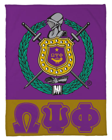 Omega Psi Phi Shield & Greek Letters Fleece Blanket - NEW LOWER PRICING!!! - Designs by Dee's Hands  - 1