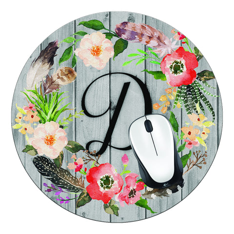 Floral Wreath & Wood Initial Round Mouse Pad - Designs by Dee's Hands  - 2