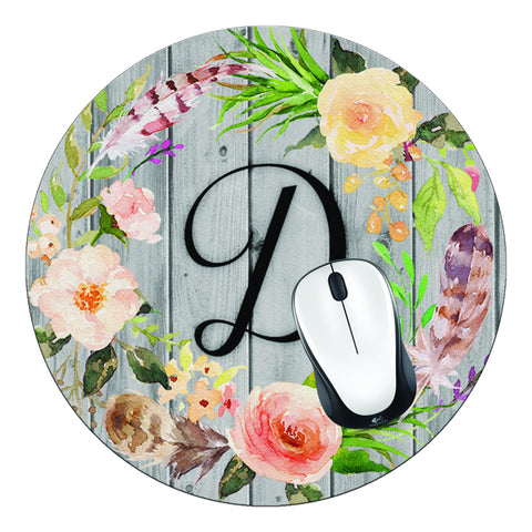 Floral Wreath & Wood Initial Round Mouse Pad - Designs by Dee's Hands  - 1