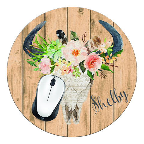 Bull Head & Wood Personalized Round Mouse Pad - Designs by Dee's Hands