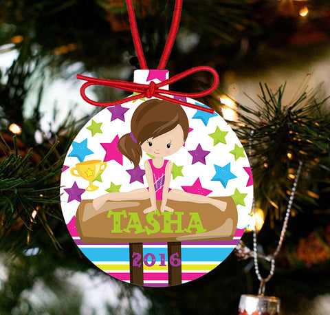 Gymnastics Personalized Christmas Ornament - Designs by Dee's Hands  - 1