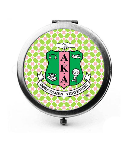 AKA - Alpha Kappa Alpha Sorority Shield Duel Compact Mirror - Round SPECIAL PRICE!!! - New Style - Designs by Dee's Hands  - 1
