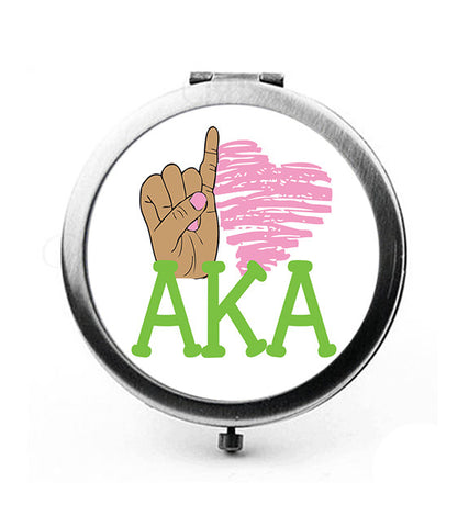 AKA - Pinky Love AKA Compact Mirror - Round SPECIAL PRICE!!! - New Style - Designs by Dee's Hands  - 1