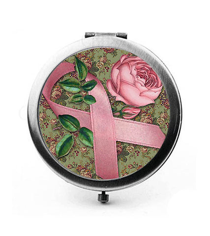 Breast Cancer Awareness Ribbon & Pink Rose Compact Mirror - Designs by Dee's Hands  - 1
