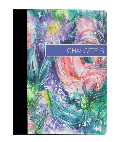 Watercolor Flowers Abstract Art Personalized Padfolio Notebook - Designs by Dee's Hands  - 1