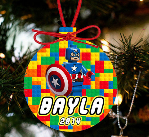 Personalized Christmas LEGO Ornament - Lego Movie Character Captain America - Designs by Dee's Hands  - 1
