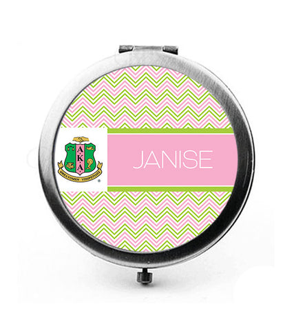 "Alpha Kappa Alpha Personalized 3"" Pocket Mirror - Chevron - Designs by Dee's Hands  - 3"