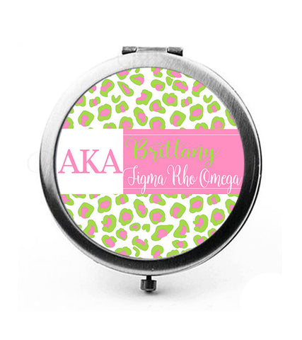 AKA Leopard Greek Letters & Name Pocket Mirror or Compact - Designs by Dee's Hands  - 3