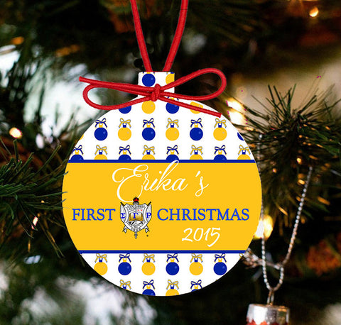 SGRho - 1st SGRho Christmas Sigma Gamma Rho Sorority Ornament - Designs by Dee's Hands