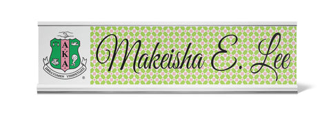 Alpha Kappa Alpha Personalized Desk Name Plate - Holder not included see link in description where to buy - Designs by Dee's Hands  - 1