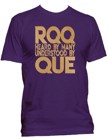 RQQ! Apparel - Omega Psi Phi TShirt - RQQ Heard by Many Mens Tee, Purple and Old Gold