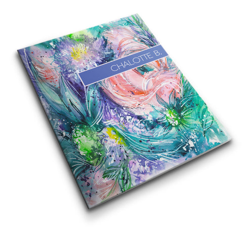 Personalized Pocket Folder Watercolor Flowers Abstract Art I - Designs by Dee's Hands  - 1