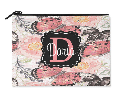 Accessory Bag, Makeup Pouch, Personalized Zippered Pouch - Butterflies - Designs by Dee's Hands