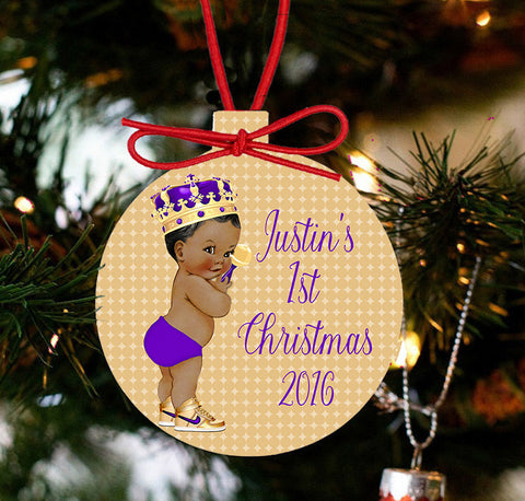 Baby's First Christmas Personalized Christmas - Purple and Gold Baby Boy - Designs by Dee's Hands