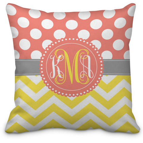 Polka Dots and Chevron Monogrammed Throw Pillow - Choose Your Colors - Designs by Dee's Hands  - 1