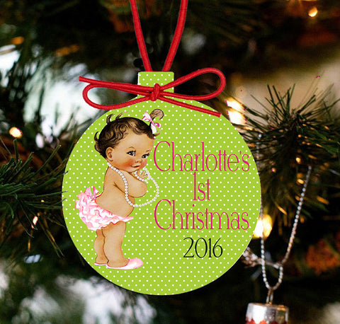 Baby's First Christmas Personalized Christmas - Baby Girl and Pearls - Designs by Dee's Hands  - 1