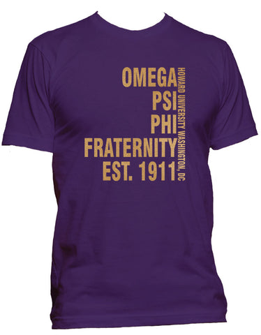 RQQ! Apparel - Omega Mens Tee - Established Mens Tee, Purple and Old Gold