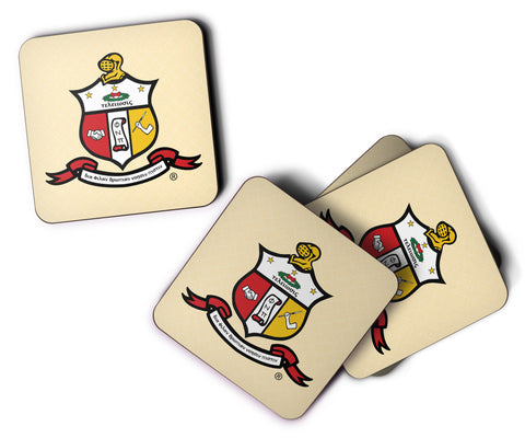 Yo! Home - Kappa Alpha Psi  - Crimson and Cream Shield Custom Coasters - Set of 4