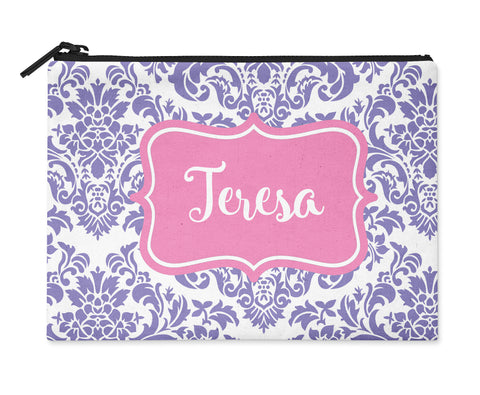 Accessory Bag, Coin Purse, Makeup Pouch, Personalized Zippered Pouch - Basic Damask - Designs by Dee's Hands  - 1