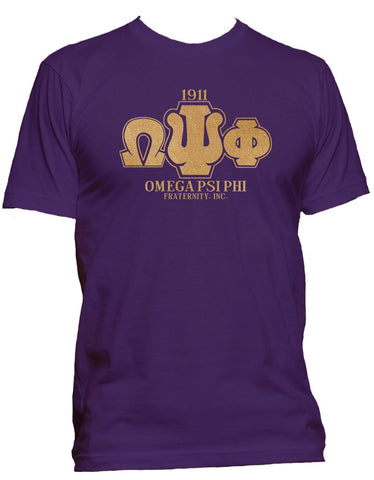 RQQ! Apparel - Omega Psi Phi - Greek Letters Mens Hoodie or Tee, Purple and Old Gold