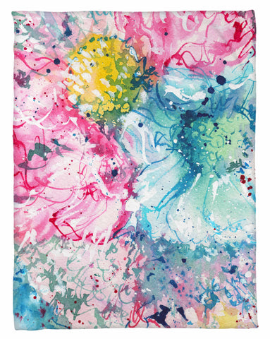 Sketch Blue Floral Fleece Blanket - NEW LOWER PRICING!!! - Designs by Dee's Hands  - 1