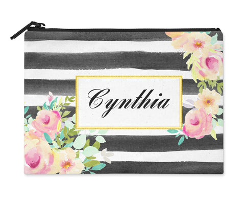 Accessory Bag, Coin Purse, Makeup Pouch, Personalized Zippered Pouch - Watercolor Stripes and Roses