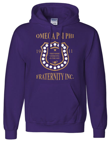 RQQ! Apparel - Omega Psi Phi - Friendship is Essential Mens Hoodie or Tee, Purple and Old Gold