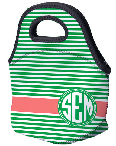 Lunch Tote - Horizontal lines and Monogram - Designs by Dee's Hands  - 1