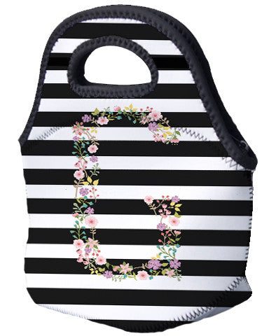 Lunch Tote - Garden Party Initial and Horizontal Lines - Designs by Dee's Hands