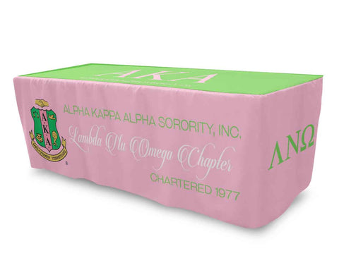 AKA Fitted Table Cloth, Table Cover 6ft or 8ft Tablecloth - Alpha Kappa Alpha - Designs by Dee's Hands  - 1