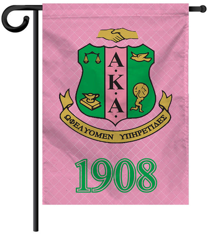 Garden Yard Flag or House Flag Banner - Alpha Kappa Alpha Sorority - Designs by Dee's Hands  - 1