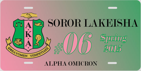 Personalized License Plate Car Tag - Sorority, Alpha Kappa Alpha Pink & Green Gradient - Designs by Dee's Hands