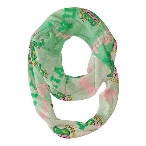AKA Adult Infinity Scarf Pink & Green Ombre w/Personalized Name & Chapter Letters - Designs by Dee's Hands  - 1