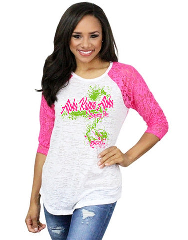 AKA Splash Lace Sleeves Raglan Burnout T-Shirt - Designs by Dee's Hands