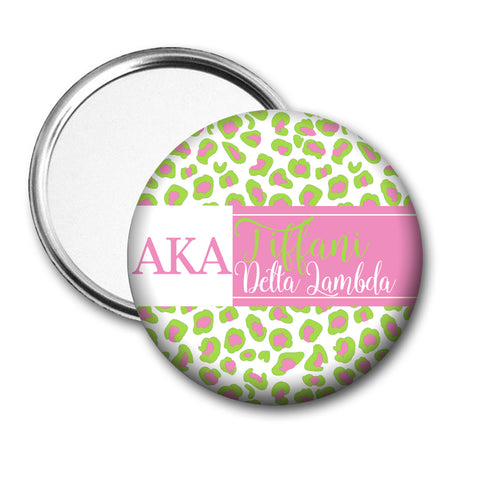 AKA Leopard Greek Letters & Name Pocket Mirror or Compact - Designs by Dee's Hands  - 1