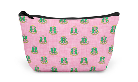 Accessory Bag, Makeup Pouch, Shield Monogram Zippered Pouch - Alpha Kappa Alpha - Designs by Dee's Hands  - 2