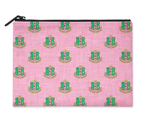 Accessory Bag, Makeup Pouch, Shield Monogram Zippered Pouch - Alpha Kappa Alpha - Designs by Dee's Hands  - 1