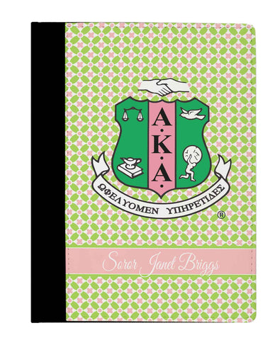 Skee Wee! Office - Personalized Padfolio Notebook Alpha Kappa Alpha Pink and Green Shield