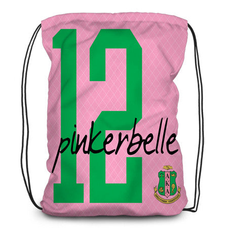 Drawstring backpack, tote - Sorority, Alpha Kappa Alpha - Designs by Dee's Hands