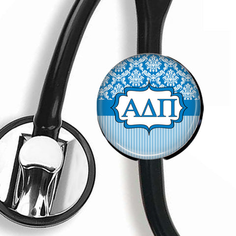 Stethoscope ID Tag - Alpha Delta Pi Damask & Stripes - Designs by Dee's Hands