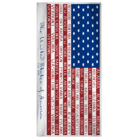 American Flag of States Beach Towel - Designs by Dee's Hands