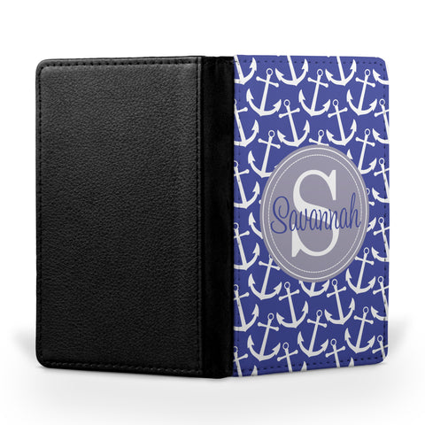 Personalized Passport Cover, Passport Holder - Anchors - Pick Your Colors