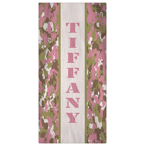 Camo Print Beach Towel - Pink - Designs by Dee's Hands