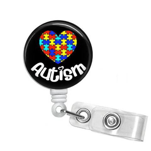 Autism ID Badge Reel - Name Badge Holder - Blue - Designs by Dee's Hands  - 5