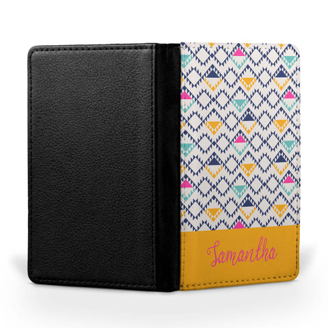 Personalized Passport Cover, Passport Holder - Aztec Bright II