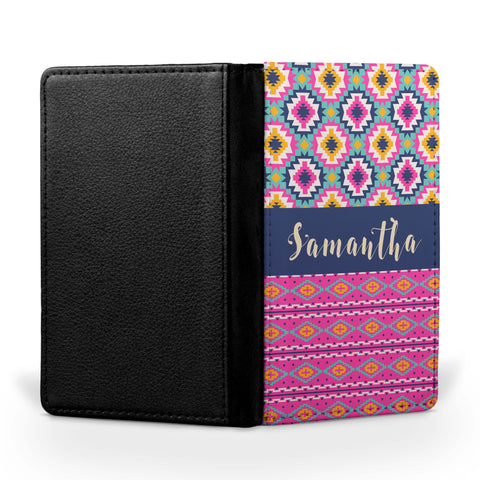 Personalized Passport Cover, Passport Holder - Aztec Bright I