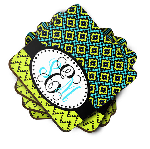 Lime Green & Turquoise Coasters  - Set of 4 - Designs by Dee's Hands