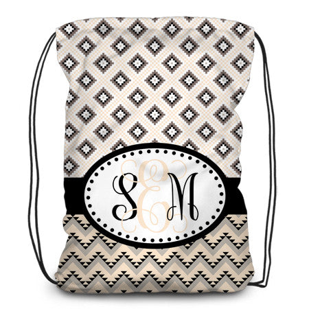 Drawstring backpack, tote - Aztec Cream and Black - Designs by Dee's Hands